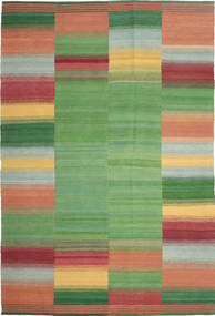 Kilim Modern Rug 200X303 Authentic  Modern Handwoven Olive Green/Dark Red (Wool, Persia/Iran)