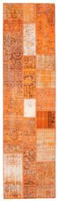 Patchwork Matto 80X301 Moderni Käsinsolmittu Käytävämatto Oranssi/Vaaleanruskea (Villa, Turkki)
