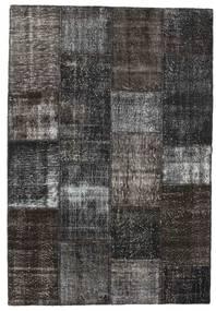 Patchwork Matto 162X237 Moderni Käsinsolmittu Tummanharmaa/Musta (Villa, Turkki)