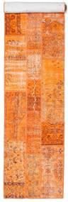 Patchwork Matto 81X398 Moderni Käsinsolmittu Käytävämatto Oranssi/Tummanbeige (Villa, Turkki)