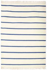 Dhurrie Stripe - White/Blue Rug 140X200 Authentic  Modern Handwoven Beige/Light Pink (Wool, India)