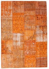 Patchwork Alfombra 161X234 Moderna Hecha A Mano Naranja/Marrón Claro (Lana, Turquía)
