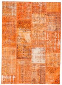 Patchwork Matto 162X226 Moderni Käsinsolmittu Oranssi/Vaaleanruskea (Villa, Turkki)