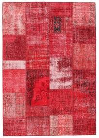 Patchwork Matto 161X232 Moderni Käsinsolmittu Punainen/Pinkki (Villa, Turkki)