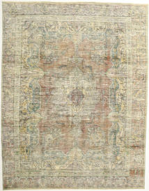 Colored Vintage Rug 290X375 Authentic  Modern Handknotted Dark Beige/Olive Green/Light Grey Large (Wool, Persia/Iran)