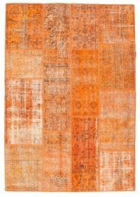 Patchwork Teppe 141X205 Ekte Moderne Håndknyttet Orange/Lysbrun (Ull, Tyrkia)