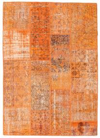 Patchwork Szőnyeg 142X201 Modern Csomózású Narancssárga/Világosbarna (Gyapjú, Törökország)