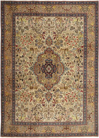 Tabriz Patina Vloerkleed 245X345 Echt Oosters Handgeknoopt Lichtbruin/Donkerbruin (Wol, Perzië/Iran)
