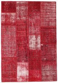Patchwork Matto 140X203 Moderni Käsinsolmittu Tummanpunainen/Punainen (Villa, Turkki)