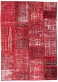 Patchwork Matto 162X230 Moderni Käsinsolmittu Punainen/Ruoste (Villa, Turkki)