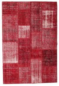 Patchwork Matto 142X207 Moderni Käsinsolmittu Tummanpunainen/Punainen (Villa, Turkki)
