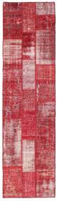 패치워크 러그 81X303 정품 모던 수제 복도용 러너 크림슨 레드/핑크 (울, 터키)