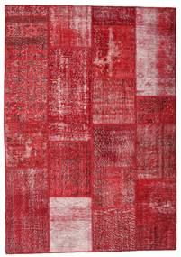 Patchwork Alfombra 163X233 Moderna Hecha A Mano Roja/Rojo Oscuro (Lana, Turquía)