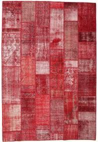 Patchwork Matto 204X300 Moderni Käsinsolmittu Punainen/Pinkki (Villa, Turkki)