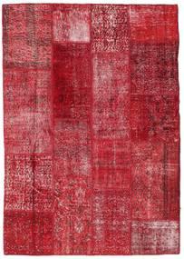 Patchwork Matto 143X203 Moderni Käsinsolmittu Punainen/Tummanpunainen (Villa, Turkki)