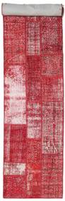 Patchwork Rug 81X404 Authentic  Modern Handknotted Hallway Runner  Crimson Red/Pink (Wool, Turkey)