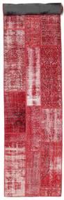 Patchwork Matto 80X408 Moderni Käsinsolmittu Käytävämatto Punainen/Pinkki (Villa, Turkki)