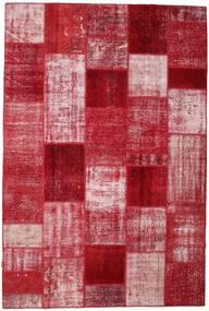Patchwork Matto 199X297 Moderni Käsinsolmittu Tummanpunainen/Punainen (Villa, Turkki)