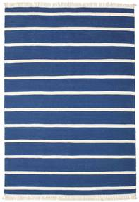 Dhurrie Stripe - Dark Blue Rug 140X200 Authentic  Modern Handwoven Dark Blue/Beige (Wool, India)