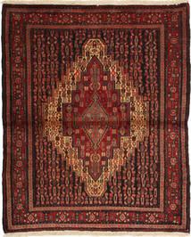 Senneh Matto 128X152 Itämainen Käsinsolmittu Tummanpunainen (Villa, Persia/Iran)