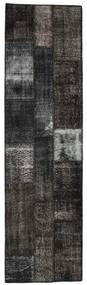 Patchwork Rug 83X295 Authentic  Modern Handknotted Hallway Runner  Black/Dark Grey (Wool, Turkey)