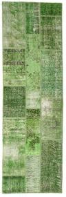 Patchwork Rug 81X255 Authentic  Modern Handknotted Hallway Runner  Dark Green/Pastel Green (Wool, Turkey)