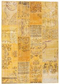 Patchwork Matto 138X198 Moderni Käsinsolmittu Vaaleanruskea/Keltainen (Villa, Turkki)