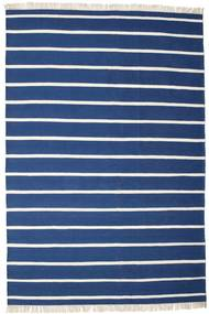 Dhurrie Stripe - Dark Blue Rug 200X300 Authentic  Modern Handwoven Dark Blue/Beige (Wool, India)