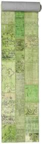 Patchwork Teppe 81X600 Ekte Moderne Håndknyttet Teppeløpere Lysgrønn/Beige (Ull, Tyrkia)