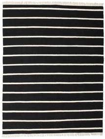 Dhurrie Stripe - Black/White Rug 200X250 Authentic  Modern Handwoven Black (Wool, India)