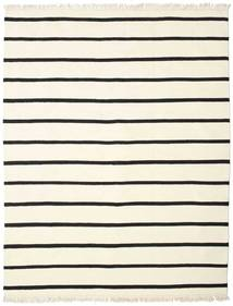 Dhurrie Stripe - White/Black Rug 200X250 Authentic  Modern Handwoven Beige/White/Creme (Wool, India)