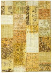 Patchwork Rug 5′3″x7′8″ Authentic  Modern Handknotted Yellow/Beige (Wool, Turkey)