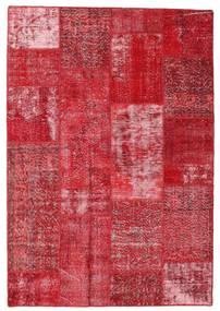 Patchwork Matto 161X231 Moderni Käsinsolmittu Punainen/Ruoste (Villa, Turkki)