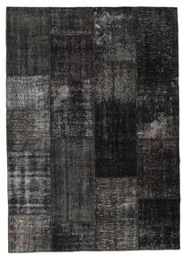 Patchwork Alfombra 162X228 Moderna Hecha A Mano Negro/Gris Oscuro (Lana, Turquía)