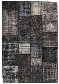 Patchwork Rug 141X206 Authentic  Modern Handknotted Dark Grey/Black/Light Grey (Wool, Turkey)