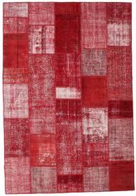 Patchwork Matto 204X299 Moderni Käsinsolmittu Punainen/Tummanpunainen (Villa, Turkki)