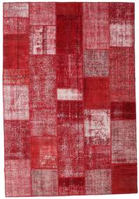 Patchwork Alfombra 204X299 Moderna Hecha A Mano Roja/Rojo Oscuro (Lana, Turquía)