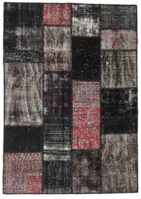 パッチワーク 絨毯 142X199 モダン 手織り 黒/濃いグレー (ウール, トルコ)
