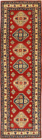 Kazak Rug 80X288 Authentic  Oriental Handknotted Hallway Runner  Rust Red/Dark Grey (Wool, Pakistan)
