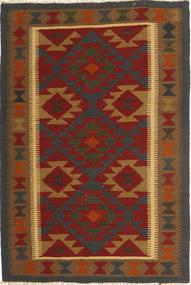 Kelim Maimane Tapijt 99X147 Echt Oosters Handgeweven Bruin/Donkergrijs/Donkerrood (Wol, Afghanistan)
