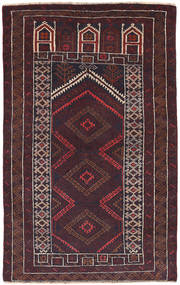 バルーチ 絨毯 86X141 オリエンタル 手織り 濃い茶色 (ウール, アフガニスタン)