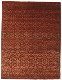 Damask Rug 242X317 Authentic  Modern Handknotted Dark Brown/Dark Red/Rust Red ( India)