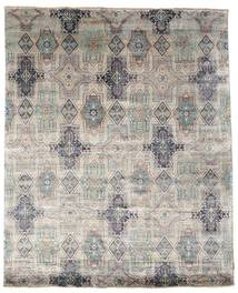 Damask Rug 246X304 Authentic  Modern Handknotted Light Grey/Dark Grey ( India)