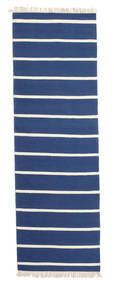 Dhurrie Stripe - Dark Blue Rug 80X300 Authentic  Modern Handwoven Hallway Runner  Blue/Beige (Wool, India)