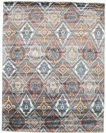 Damask Rug 243X308 Authentic  Modern Handknotted Light Grey/Dark Brown ( India)