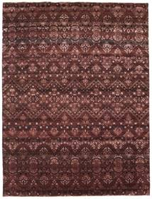 Damask Rug 234X308 Authentic  Modern Handknotted Dark Red/Dark Brown ( India)