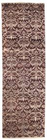 Damask Rug 77X238 Authentic  Modern Handknotted Hallway Runner  Dark Brown/Light Pink ( India)