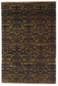 Damask Rug 99X147 Authentic  Modern Handknotted Dark Brown/Brown ( India)