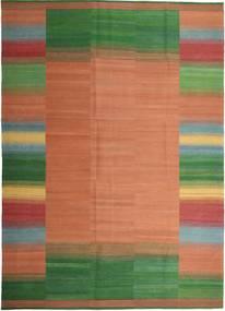 Kelim Moderni Matto 251X351 Moderni Käsinkudottu Vaaleanruskea/Tummanvihreä Isot (Villa, Persia/Iran)