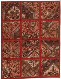 Patchwork Matta 115X152 Äkta Modern Handvävd Mörkröd/Brun (Ull, Persien/Iran)